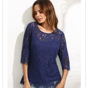 NWT Piperlime Collection cami/lace overlay top